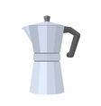 colored flat style metal faceted coffee pot vector image vector image