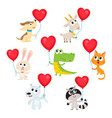 cute and funny baby animals holding red heart vector image vector image