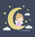 cute little fairy in pink dress on moon vector image