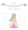 cute little princess birthday card template vector image vector image
