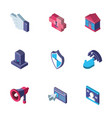 data internet technology isometric icons set vector image