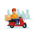 delivery man riding red motor bike vector image vector image