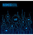 Digital lines with bubbles for business symbols vector image