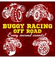Dune buggy and monster truck - badge vector image vector image
