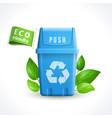 Ecology symbol trash can vector image vector image