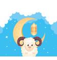 eid al adha mubarak happy sacrifice feast goat vector image vector image