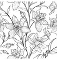 floral seamless pattern flower black and white vector image vector image