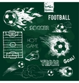Football elements and ball on green chalkboard vector image