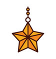 happy merry christmas hanging gold star vector image vector image