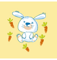 kiddy white bunny with carrot vector image vector image