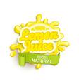 Lemon juece label splash vector image vector image
