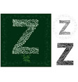 letter z made with decorative leaves vector image