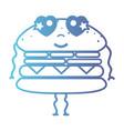line kawaii cute in love hamburger fastfood vector image