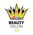 logo golden crown with jewels vector image vector image