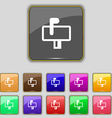 Mailbox icon sign Set with eleven colored buttons vector image