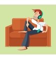 Man resting on sofa couch indoor and listening vector image vector image