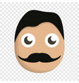 mustache man face icon cartoon style vector image vector image