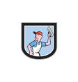 Plasterer Masonry Worker Shield Cartoon vector image vector image