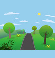 road on hills with big mountains and sky vector image vector image