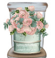 roses vintage bouquet detailed vector image