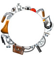 round blank frame with bicycle spares vector image