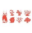 Sea aquarium coral silhouettes set vector image vector image