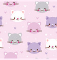 seamless pattern with faces cats vector image vector image