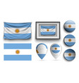 set of argentina flags collection isolated vector image vector image