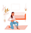 sport training at home woman character doing vector image vector image