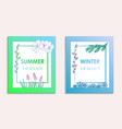 summer and winter postcards with background vector image vector image