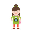 tourist cute character professional set flat vector image vector image