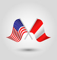 two crossed american and peruvian flags vector image vector image