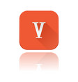 v roman numeral orange square icon with vector image