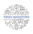 video marketing round concept thin line vector image
