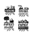 village emblem with text farmer signs vector image vector image
