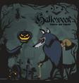werewolf holding skull on halloween on the vector image