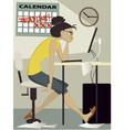 Woman working under deadline vector image vector image