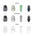 women clothing cartoonoutlinemonochrome icons in vector image vector image