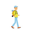 young man tourist walking with hiking backpack on vector image