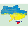 Ukraine map Russia in Crimea vector image