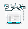 cloud computing line vector image