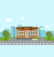 shop store building on street with tree and vector image