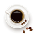 black coffee cup and beans vector image