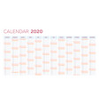 business planner calendar template for 2020 vector image vector image