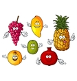 Cartoon happy fresh fruits characters vector image vector image