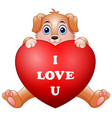 cartoon puppy holding red heart vector image vector image