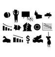 crisis symbols black silhouette problem economy vector image