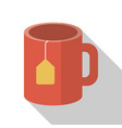 cup of tea on white background with long shadow vector image vector image