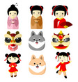 cute character asian culture graphic vector image