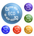 eco recycle arrow icons set vector image